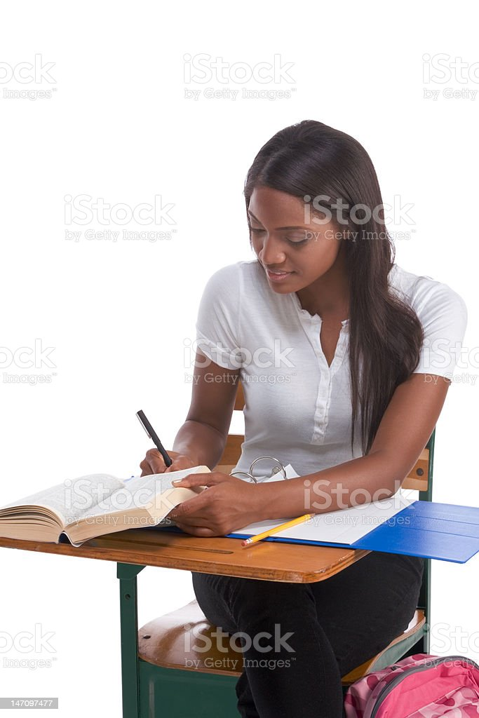 College student African American woman by desk stock photo