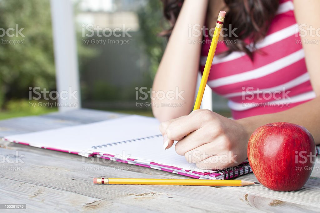 College student doing homewrk royalty-free stock photo