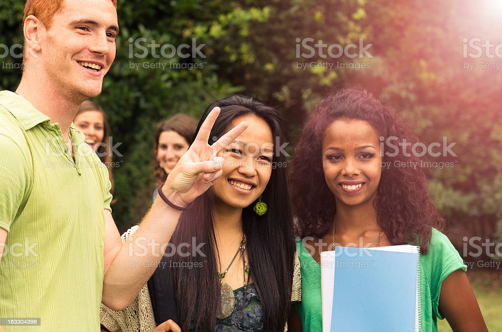 College student Friends having fun in the park royalty-free stock photo