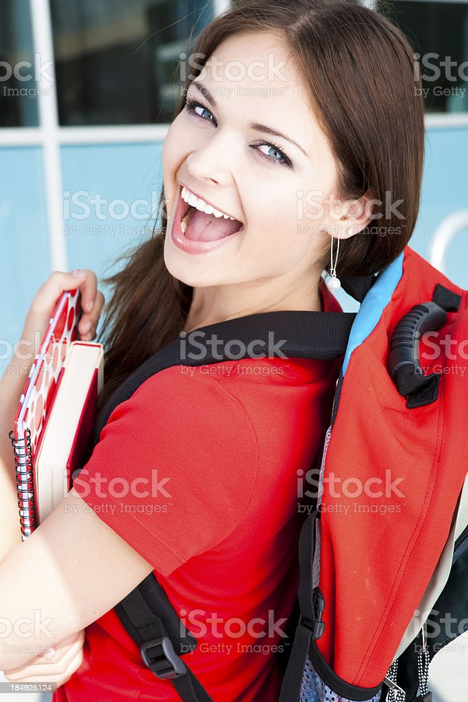 College student holding her books royalty-free stock photo