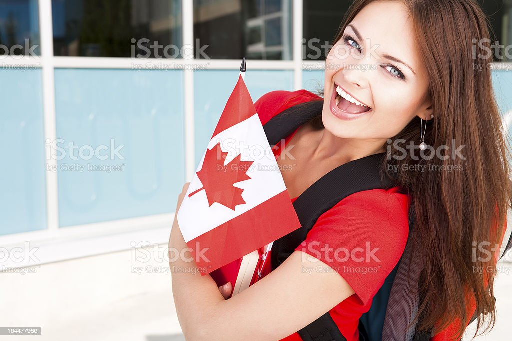 College student in summer school on Canada Day stock photo