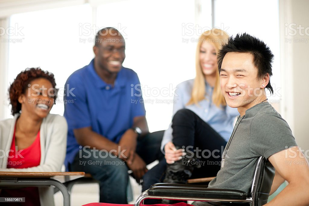 College student in wheelchair stock photo