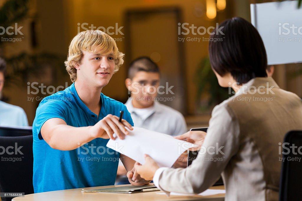 College student interviews at job fair stock photo