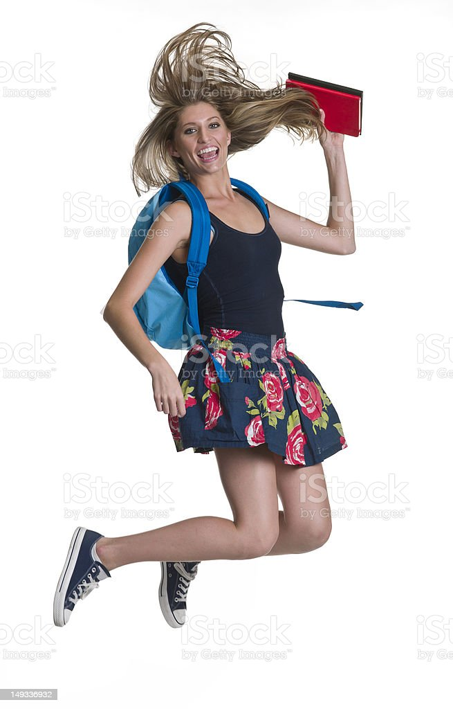College Student Jumping royalty-free stock photo