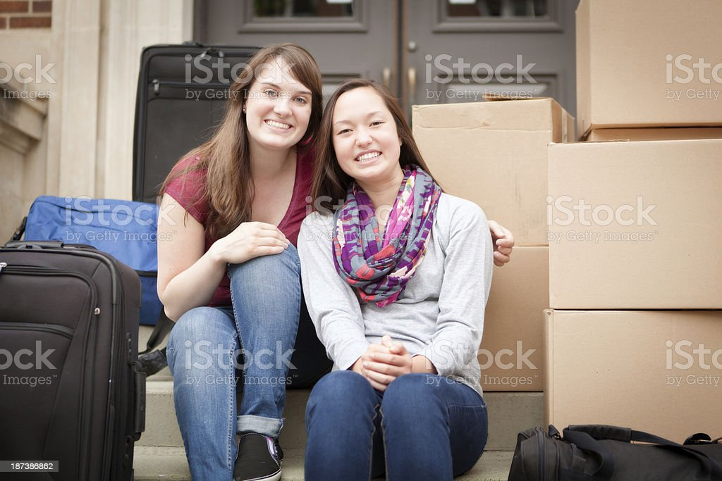 College Student Moving Dormitory in University Campus royalty-free stock photo