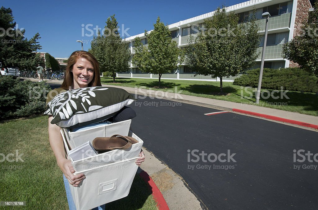 College Student Moving into Dormitory royalty-free stock photo