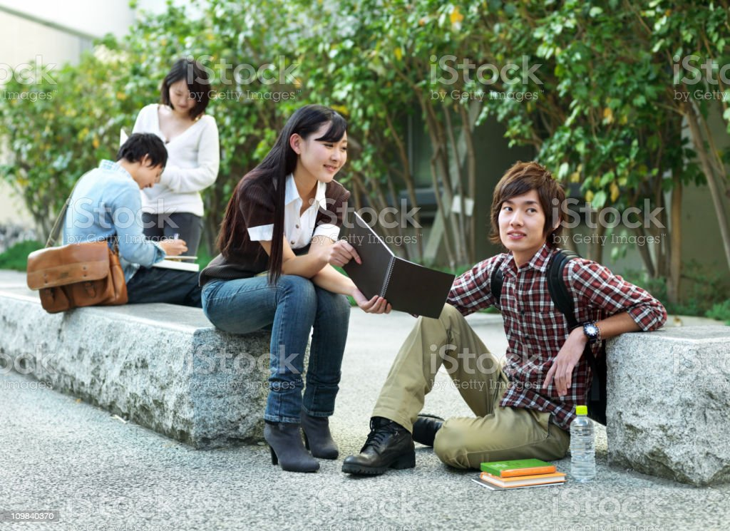 College student outdoors royalty-free stock photo