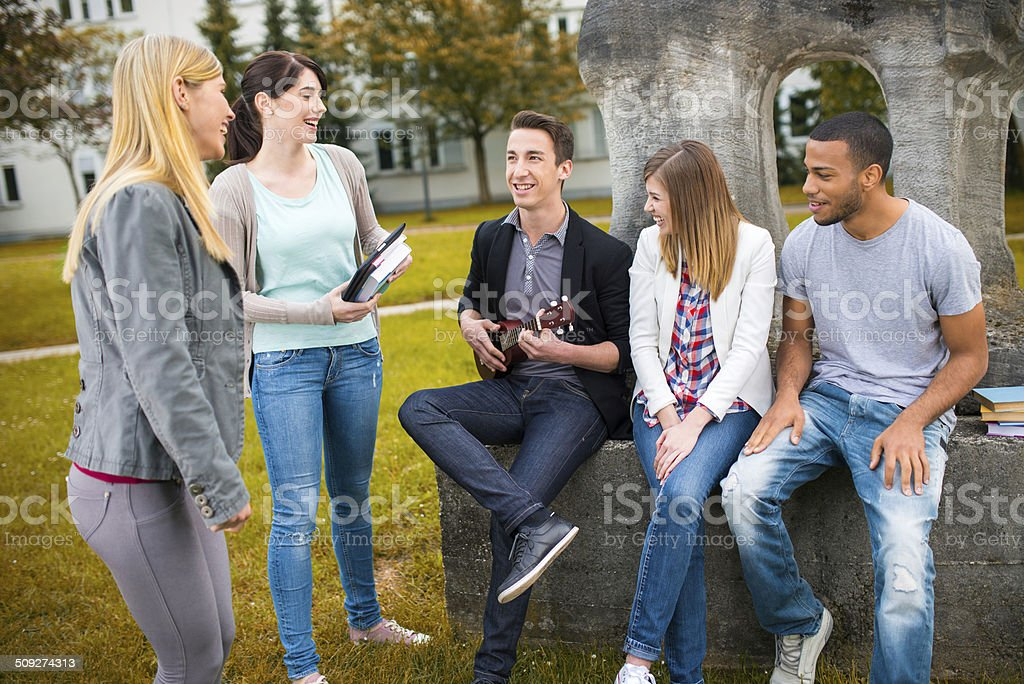 College Student Playing Ukulele royalty-free stock photo