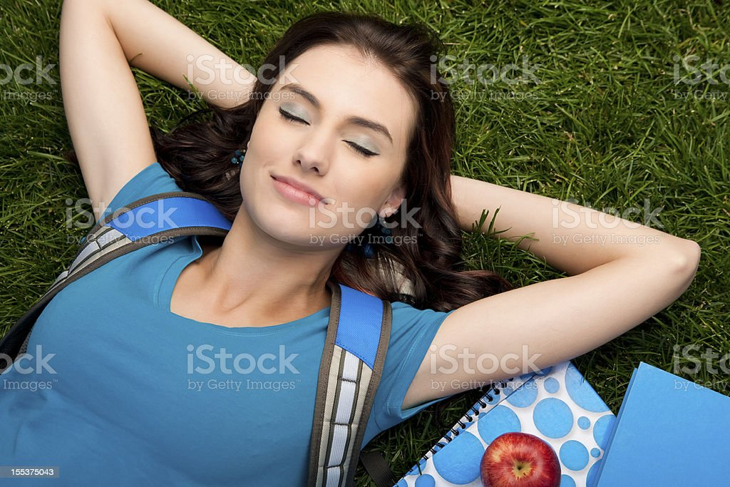 College student relaxing royalty-free stock photo