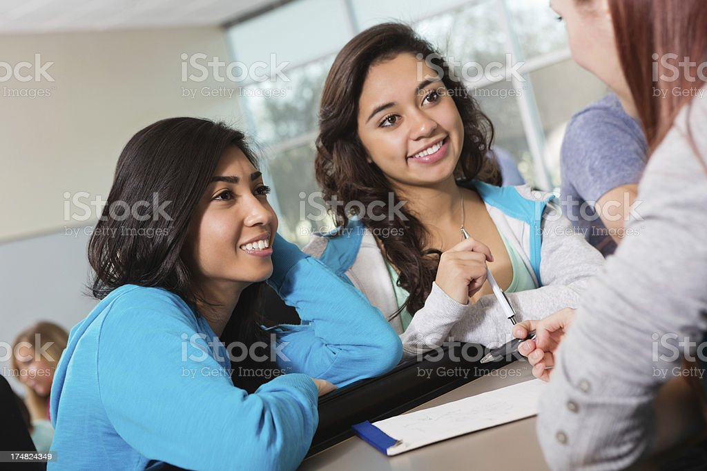 College student study group working together in class royalty-free stock photo