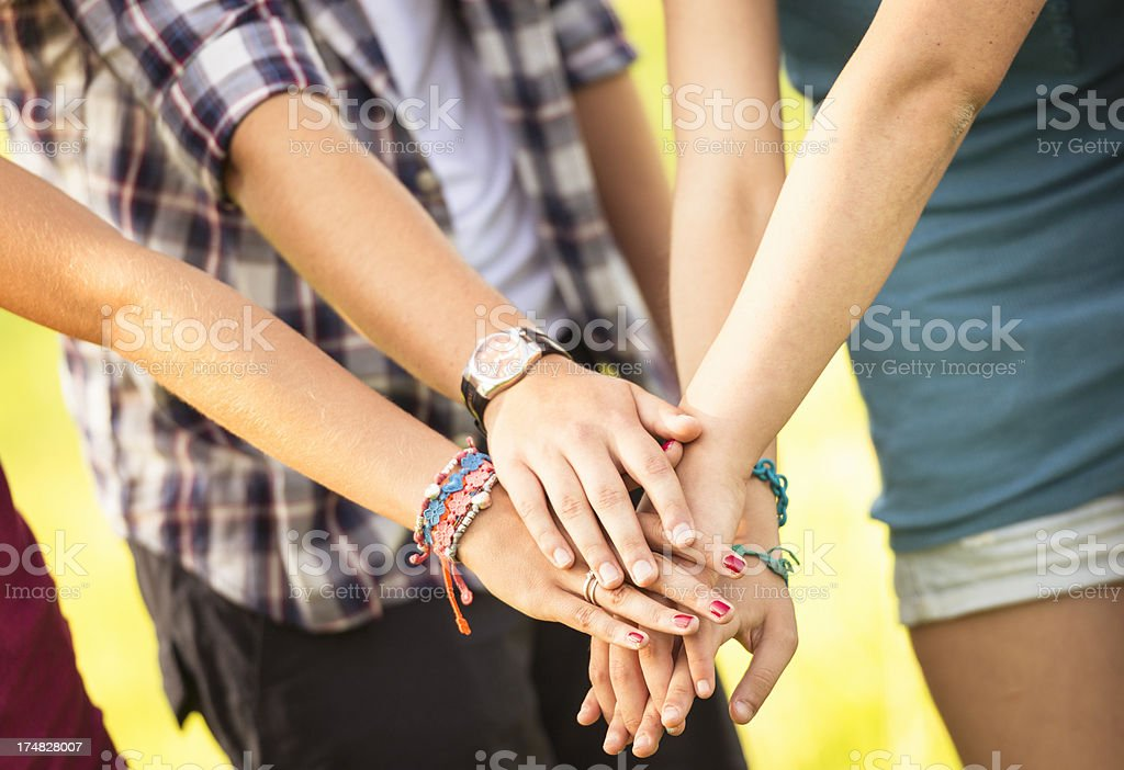 College student togetherness - teamwork theme royalty-free stock photo