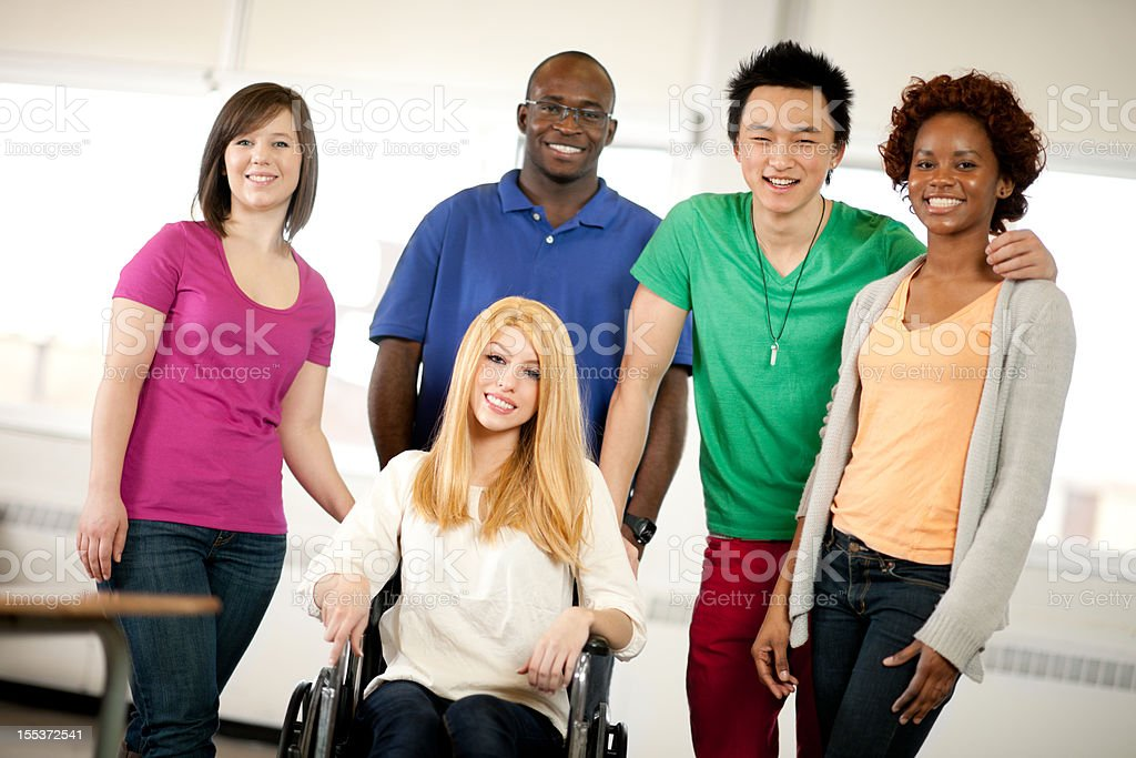 College student with wheelchair stock photo