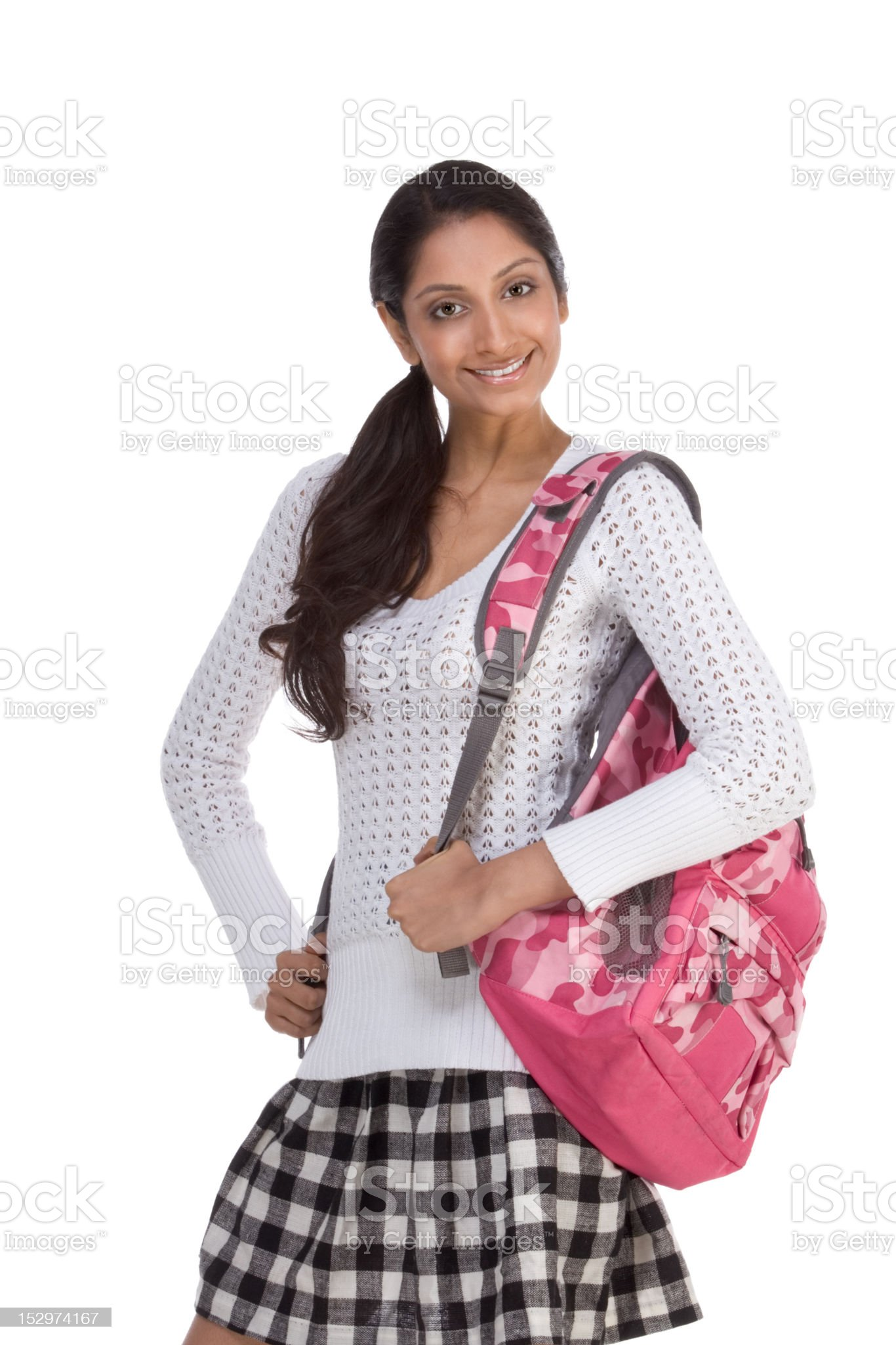 College student young Indian woman with backpack royalty-free stock photo