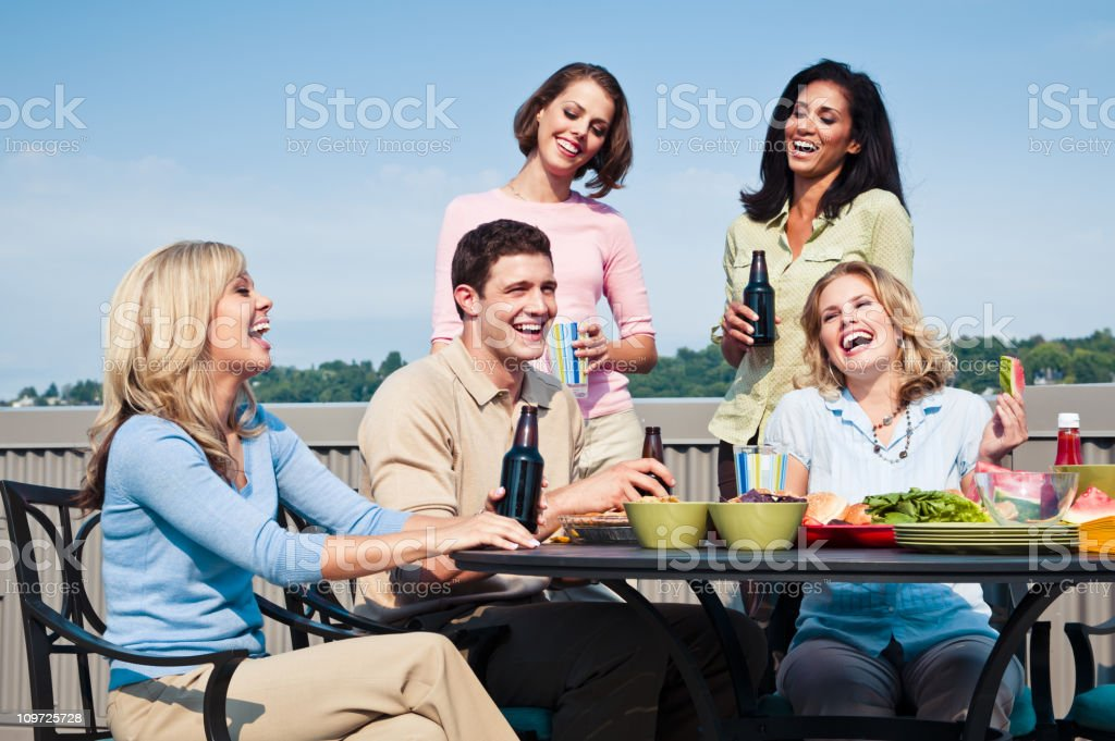 College Students at Picnic royalty-free stock photo