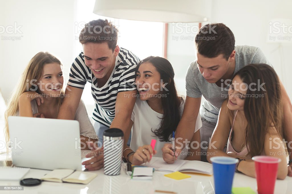 College students doing homework together at home stock photo