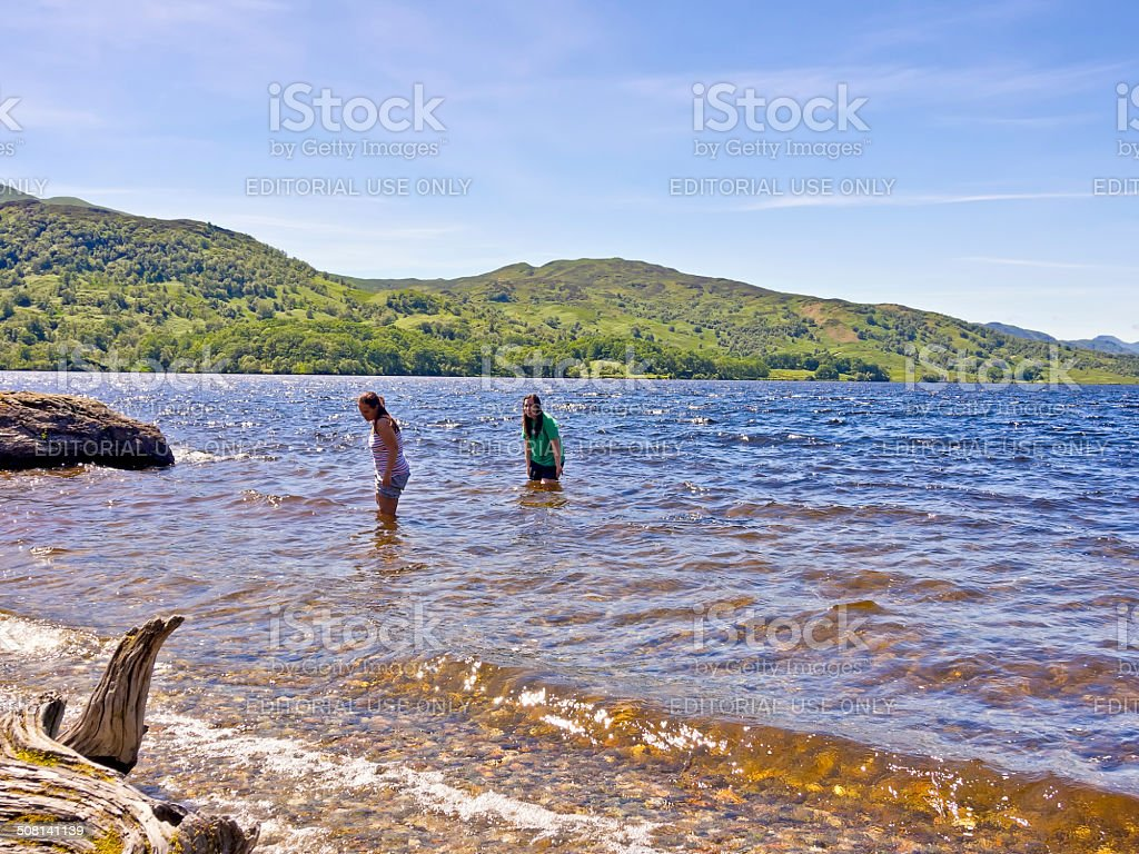 College students enjoying the warm summer weather stock photo