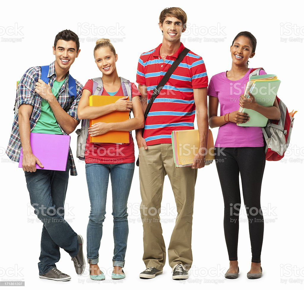 College Students Holding Notes - Isolated stock photo
