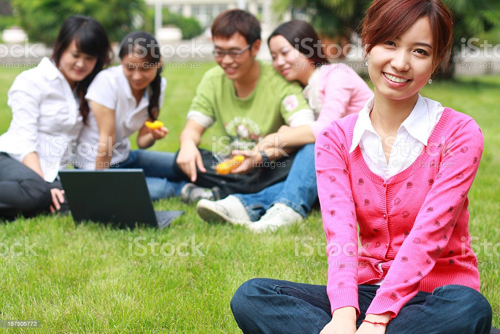 college students in the campus royalty-free stock photo