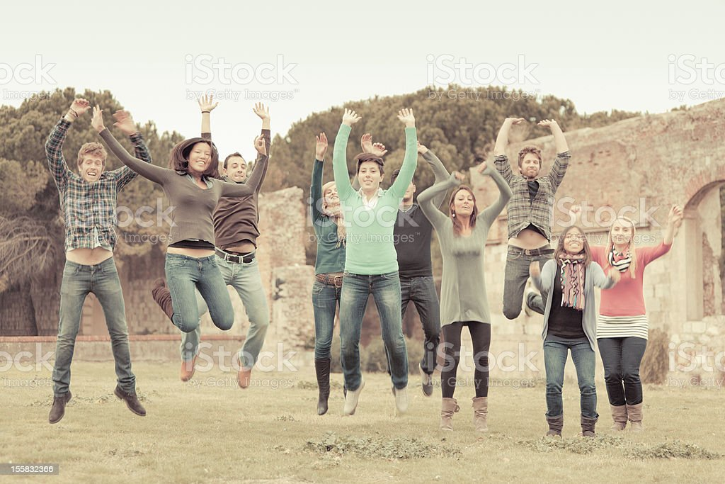 College Students Jumping royalty-free stock photo