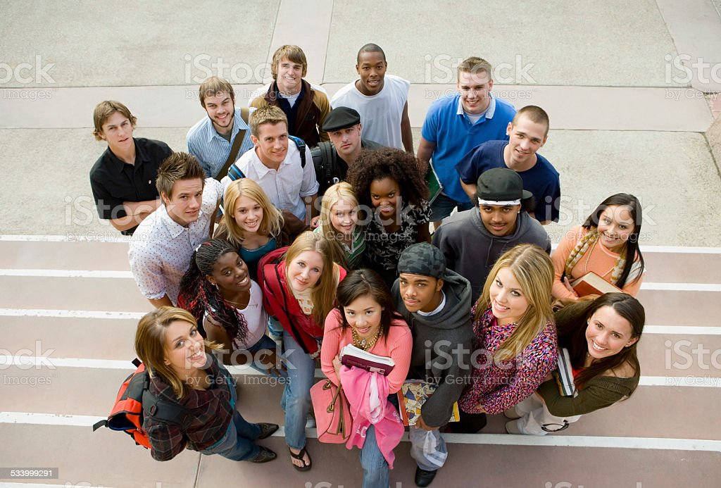College Students On Steps stock photo