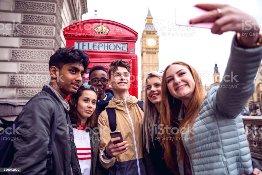 College Students on travel to London stock photo