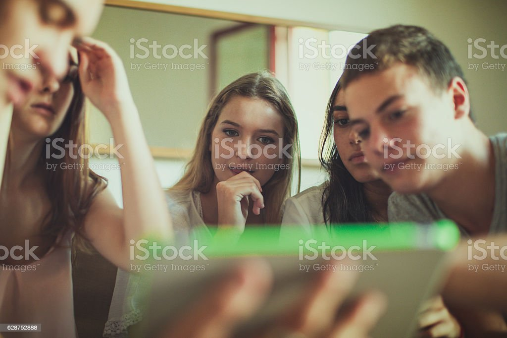 College students studying at home stock photo