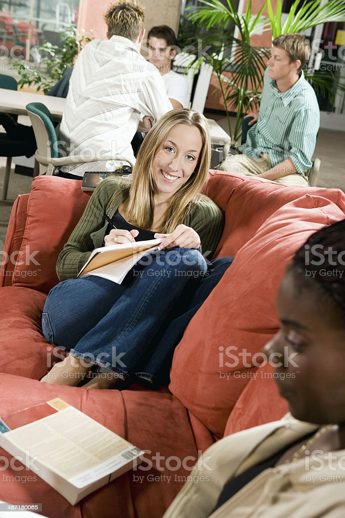 College Students Studying in the Lounge stock photo