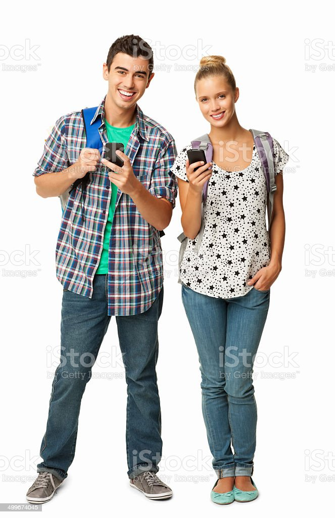 College Students Using Cell Phones - Isolated stock photo