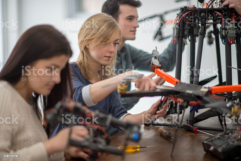 College Students Working on a Drone stock photo
