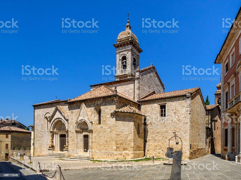 Collegiata dei Santi Quirico e Giulitta in San Quirico d'Orcia stock photo