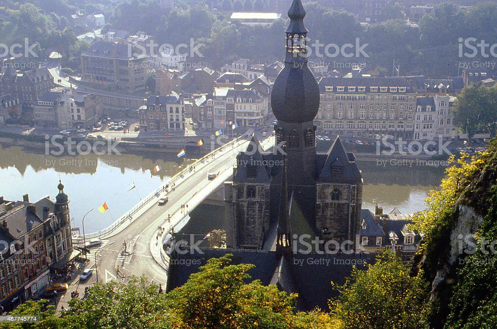 Collegiate Church Notre-Dame and Bridge Namur Dinant  River Meuse Belgium stock photo