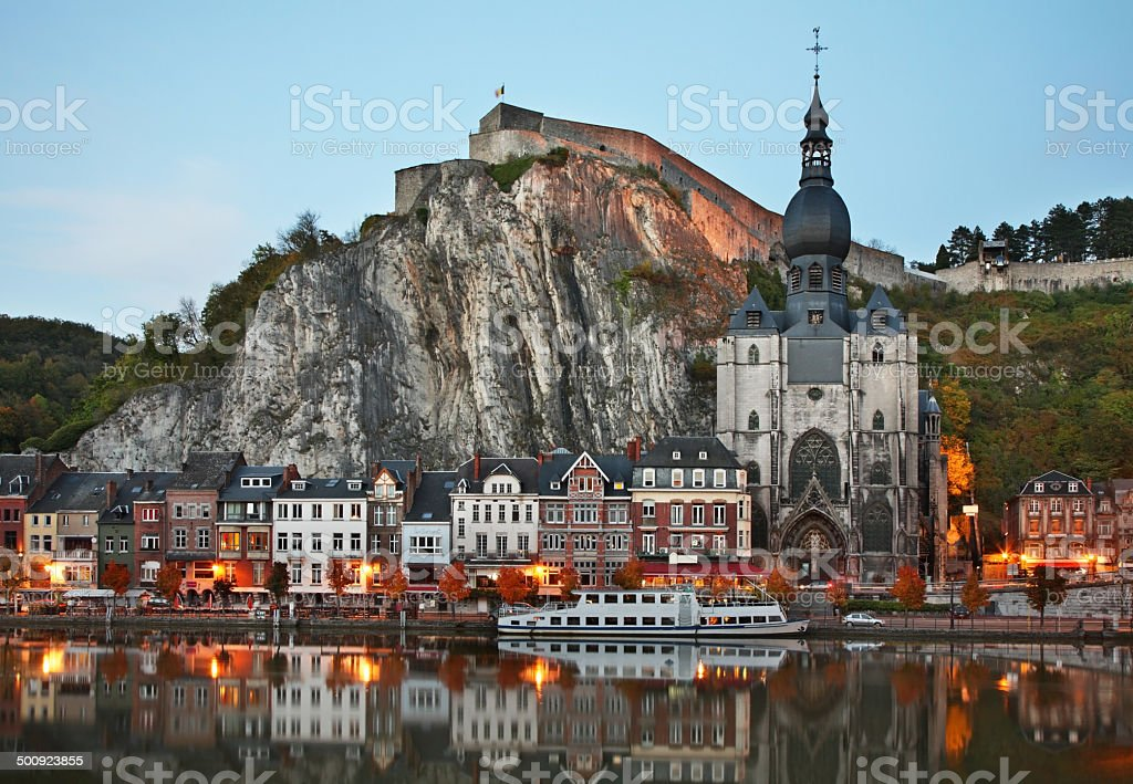Collegiate church of Notre Dame and citadel in Dinant. Belgique stock photo
