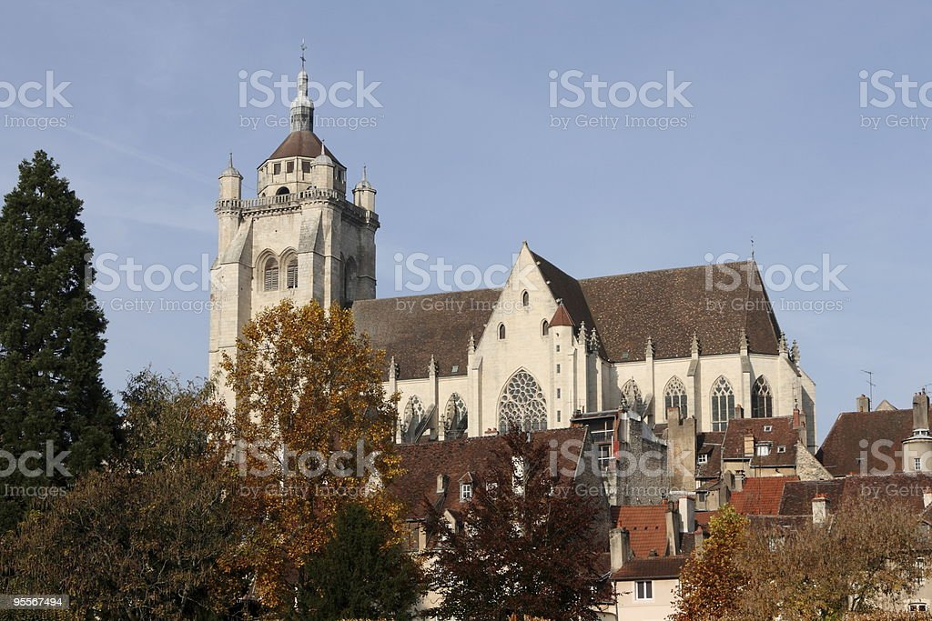 Collegiate church of Notre Dame at Dole, France. stock photo