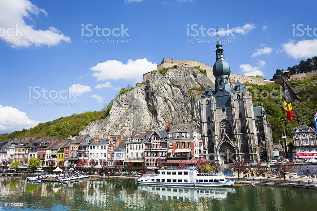 Collegiate Church of Our Lady near Meuse river stock photo