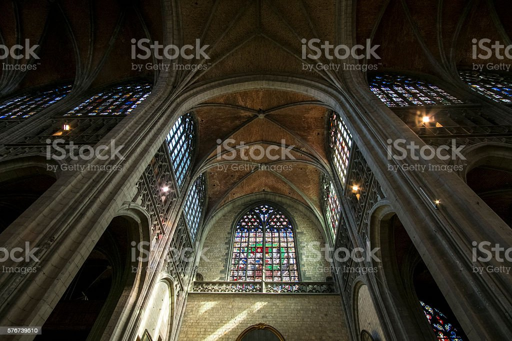 Collegiate Church of Sainte-Waudru of Mons stock photo