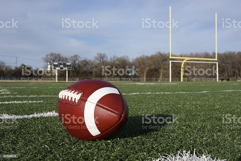 Collegiate Football on the field royalty-free stock photo