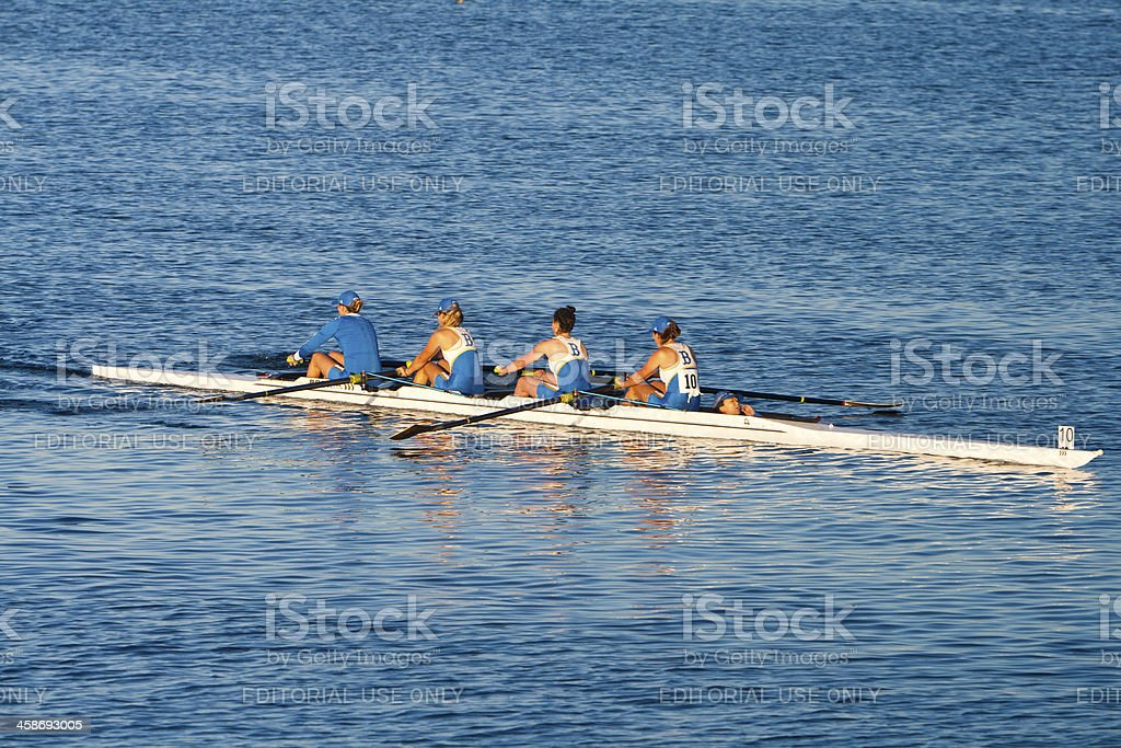 Collegiate Rowing Teams Practice On the Pacific stock photo