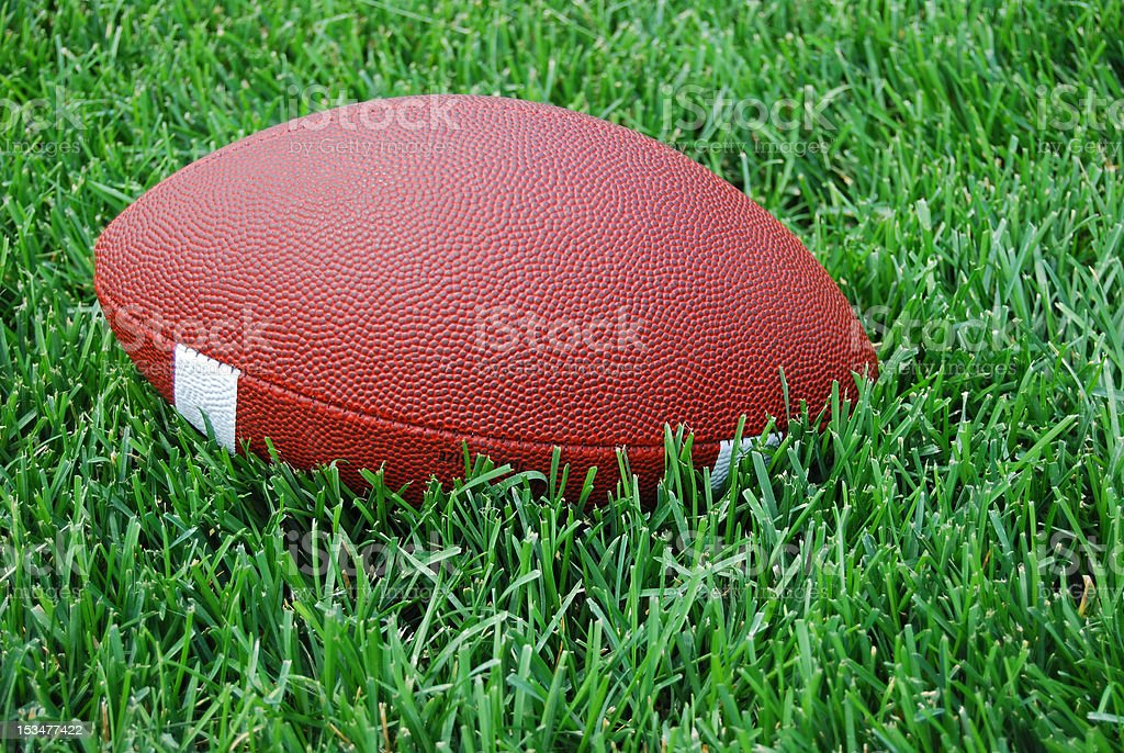 Collegiate style football in the grass royalty-free stock photo