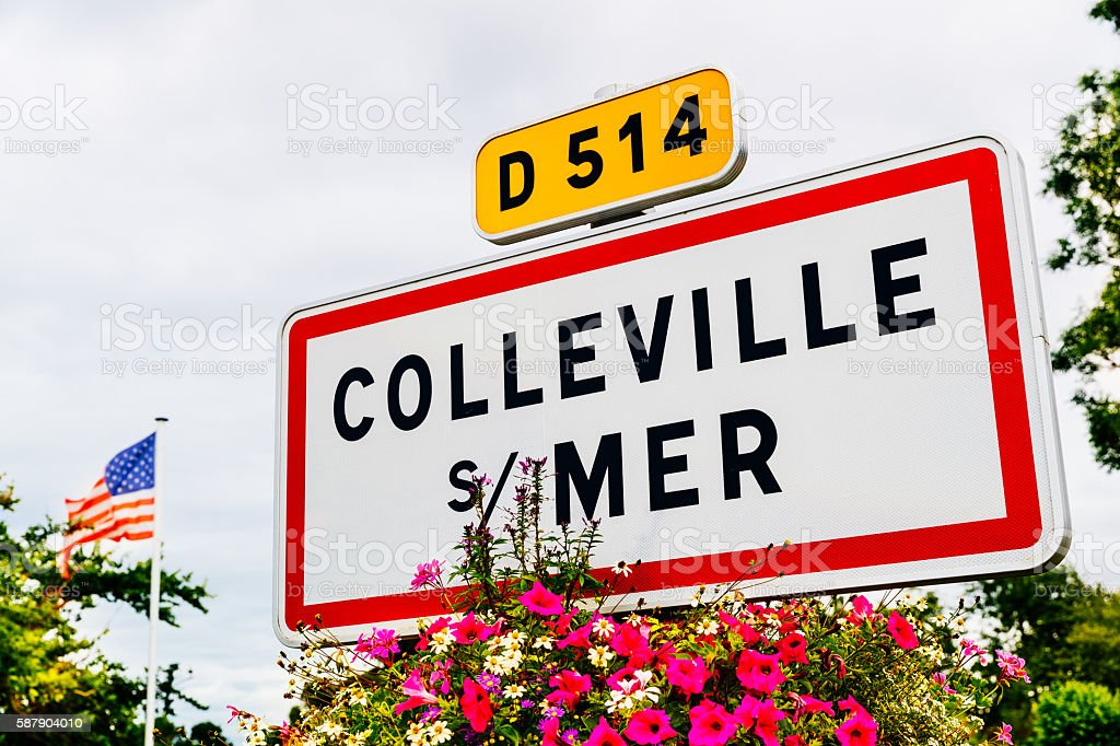 Colleville-sur-Mer road sign, Normandy stock photo