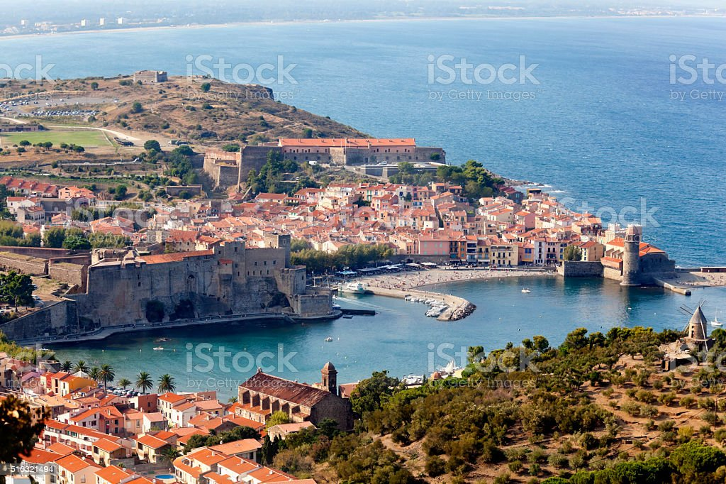 Collioure Fishing Village Roussillon France stock photo