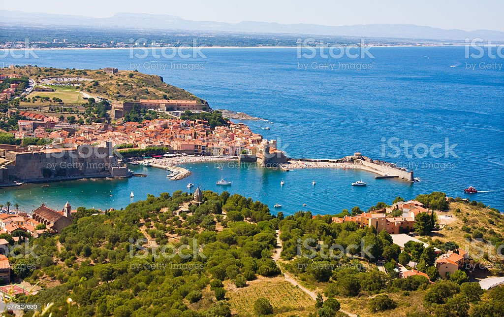 Collioure harbour, Languedoc-Roussillon, France stock photo