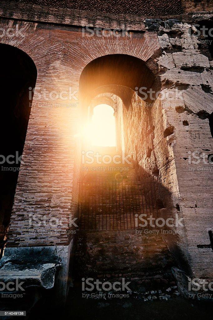 Colliseum in Italy in the sunlight stock photo