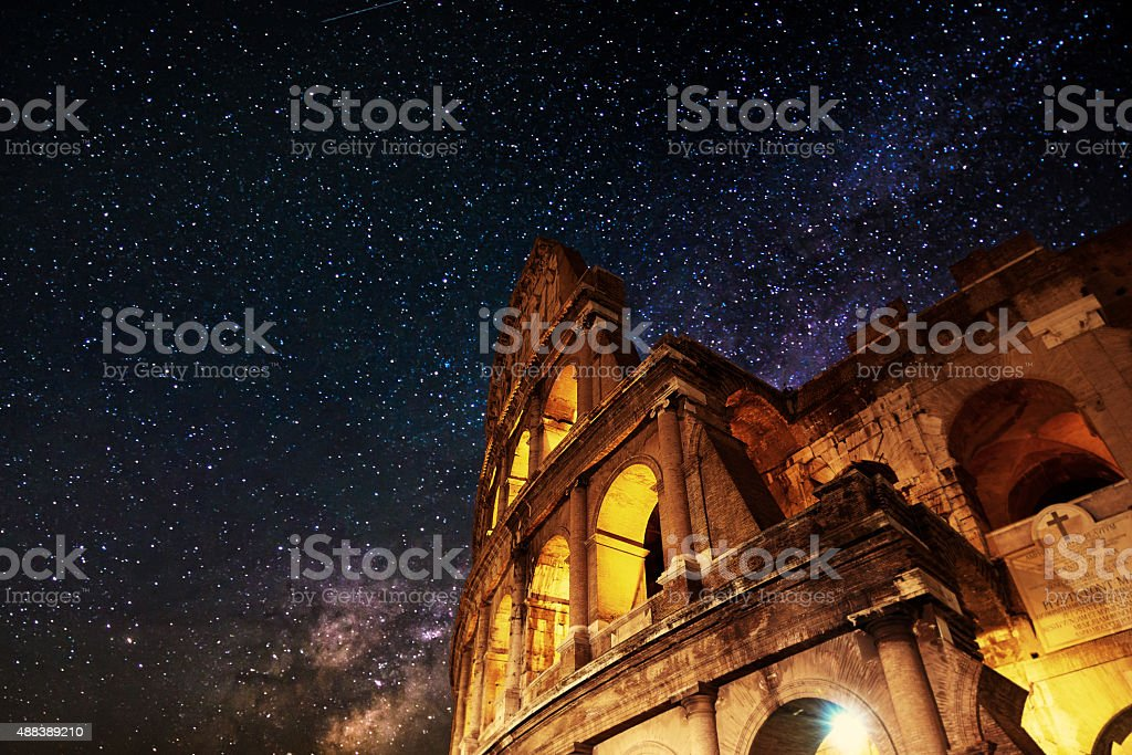 Colliseum in night time stock photo