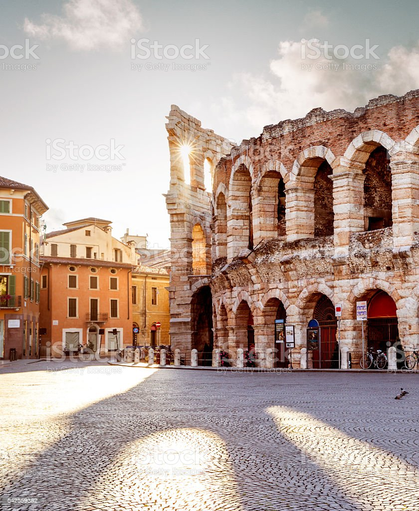 Colliseum in Verona city, Italy stock photo