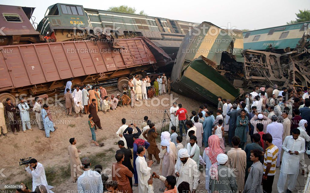Collision between two trains in Multan stock photo
