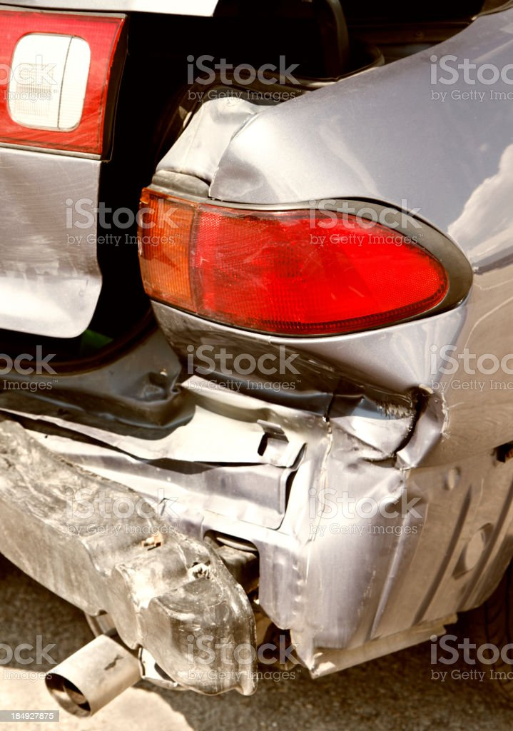 Collision Damage On Rear End Of Car royalty-free stock photo