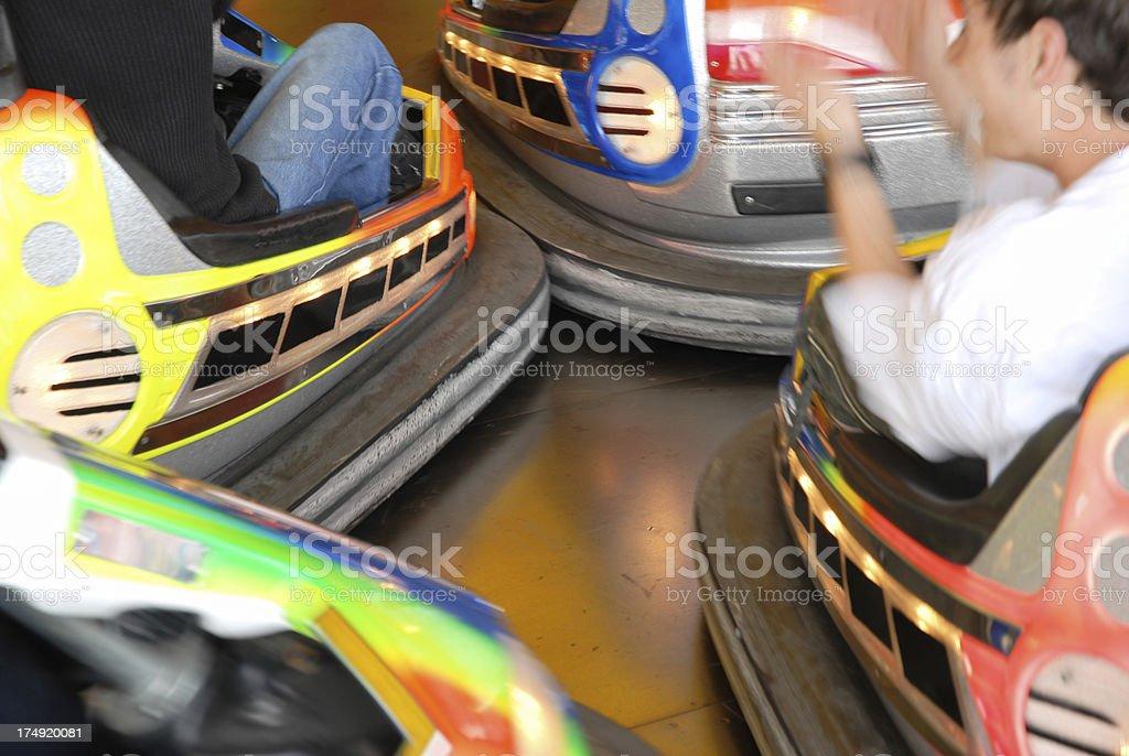 Collision of bumper cars stock photo