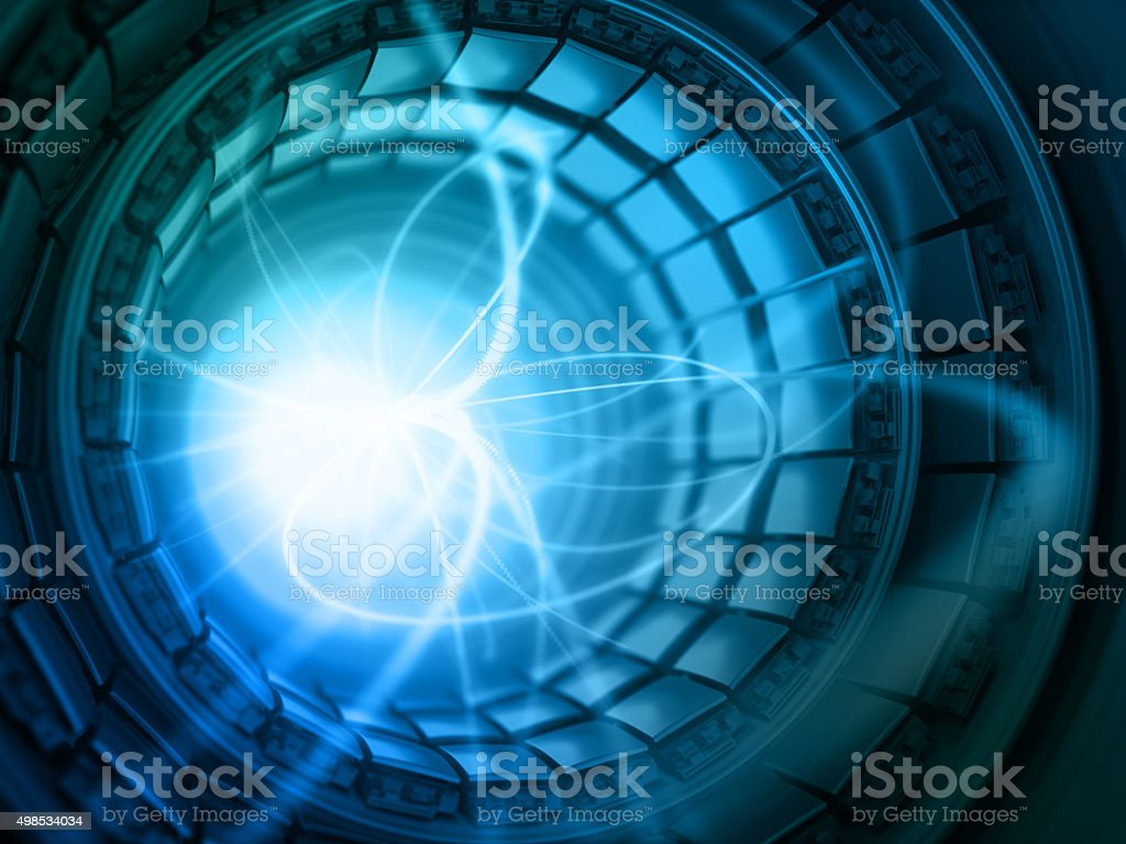 Collision of Particles in the Abstract Collider stock photo