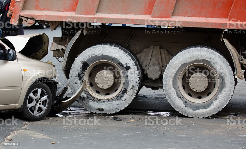 Collision. The accident on the road. stock photo