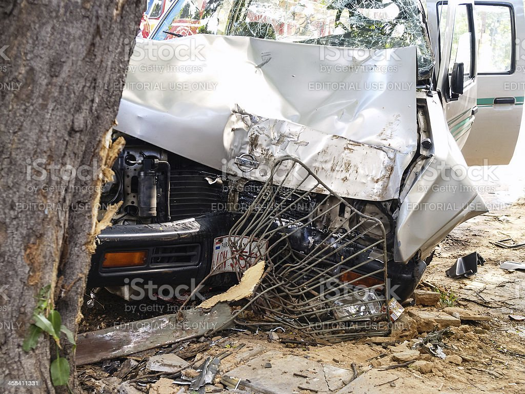 Collision with tree, car accident in Asuncion, Paraguay, South A stock photo
